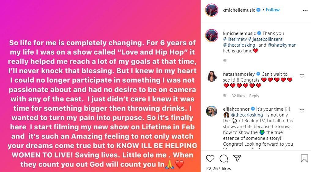 K. Michelle, Lifetime, Reality Series, Show, Instagram, Announcement, Love & Hip Hop
